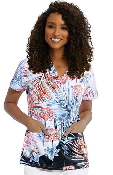 Signature by Grey's Anatomy Women's Coral Palm Print Scrub Top, , large