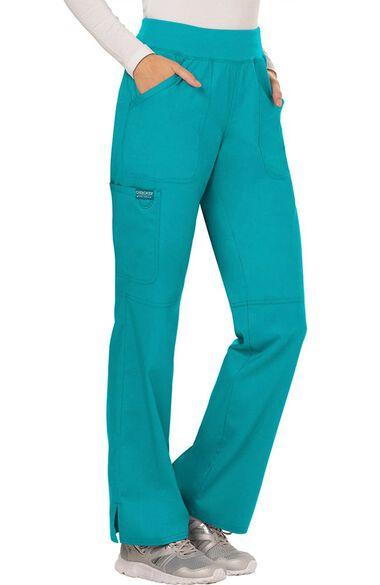 Women's Elastic Waistband Cargo Pull-On Scrub Pant, , large