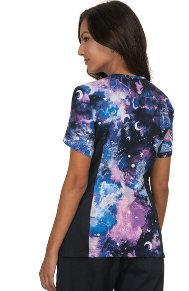 Women's Lucky Galaxy Burst Print Scrub Top, , large
