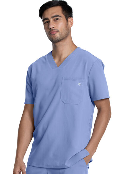 Men's Single Pocket Solid Scrub Top, , large