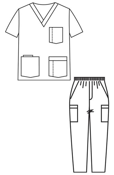 Men's V-Neck Solid Scrub Top & Zip Fly Cargo Scrub Pant Set, , large