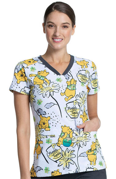 Clearance Women's Rumbly Tumbly Print Scrub Top, , large