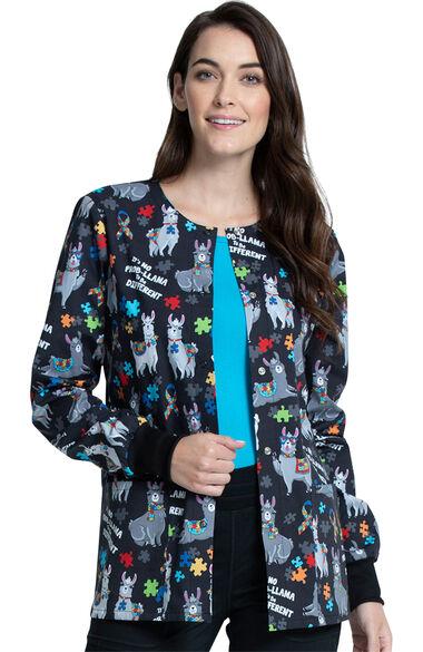 Women's Llama Love Print Scrub Jacket, , large
