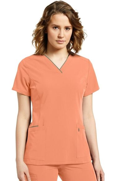Clearance Women's Contrast Trim V-Neck Solid Scrub Top, , large
