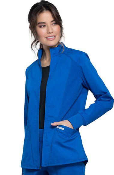 Women's Hi-Low Solid Scrub Jacket, , large