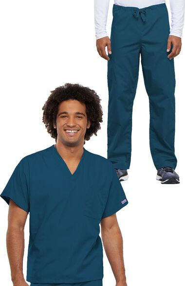 Unisex Durable V-Neck Top & Drawstring Pant Scrub Set, , large