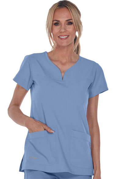 Signature by Grey's Anatomy Women's Notch Neck Solid Scrub Top, , large