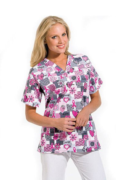 Women's Discount V-Neck 2-Pocket Tunic Style Breast Cancer Awareness Print Scrub Top, , large