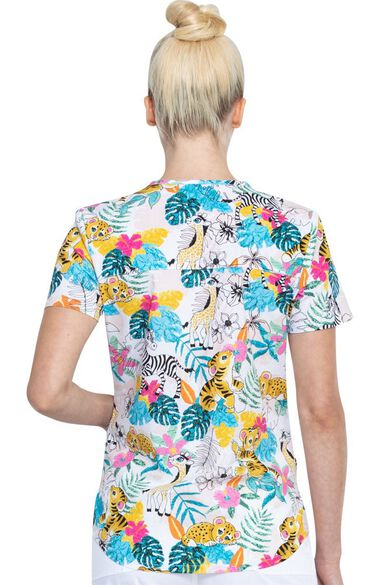 Clearance Women's Tropical Playground Print Scrub Top, , large