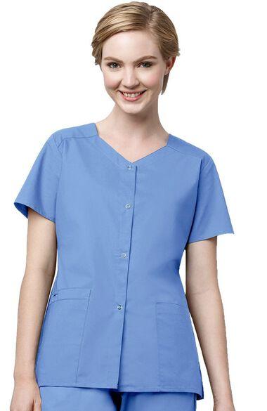 Women's Short Sleeve Snap Scrub Jacket, , large
