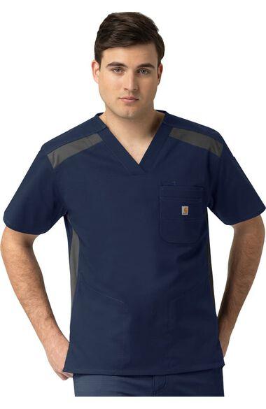 Men's 2-Tone 6 Pocket Solid Scrub Top, , large