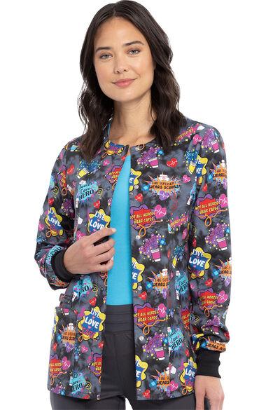 Women's Healthcare Heroes Print Scrub Jacket, , large