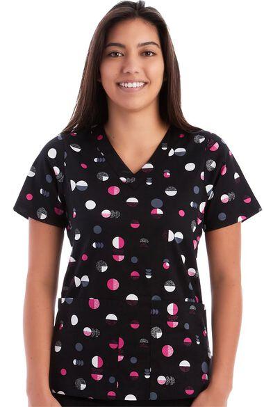 Women's Shady Circles Black Print Scrub Top, , large