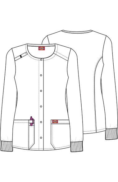 Women's Snap Front Slow Magical Print Scrub Jacket, , large