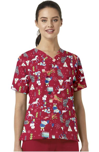 Clearance Women's Christmas Puppy Print Scrub Top, , large