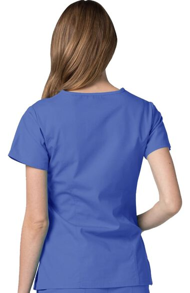 Women's Double Stitched Mock Wrap Solid Scrub Top, , large