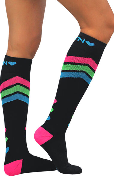 About The Nurse Women's Knee High 20-30 MmHg Black Hearts Print Compression Sock, , large