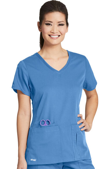Grey's Anatomy Classic Women's Side Panel V-Neck Solid Scrub Top, , large