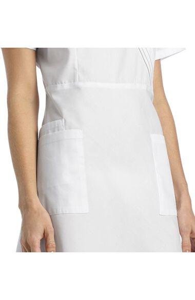 Women's Pleated Mock Wrap Scrub Dress, , large