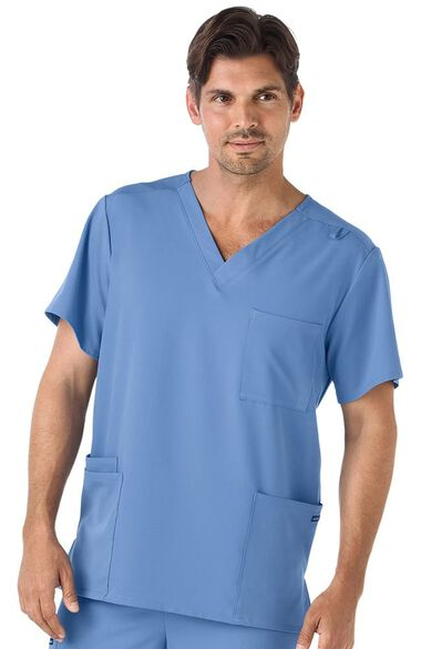 Unisex V-Neck Solid Scrub Top, , large