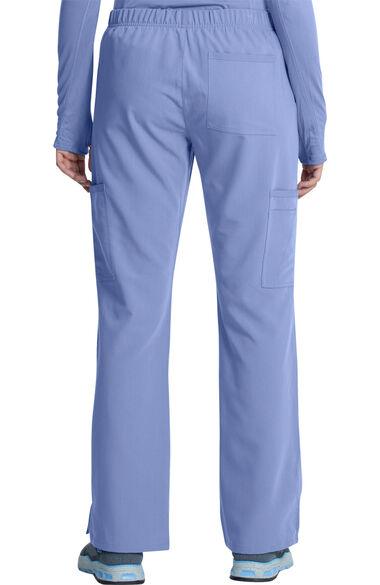 Women's Mock Wrap Solid Scrub Top & Cargo Scrub Pant Set, , large