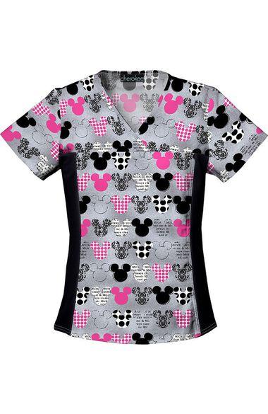 Women's Mickey Mouse Print Scrub Top, , large