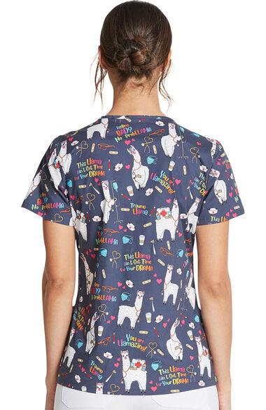 Women's Trama Llama Print Scrub Top, , large