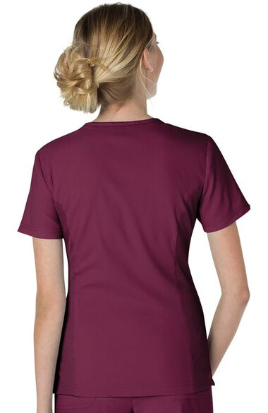 Clearance Women's Serenity Round Zip Neck Solid Scrub Top, , large