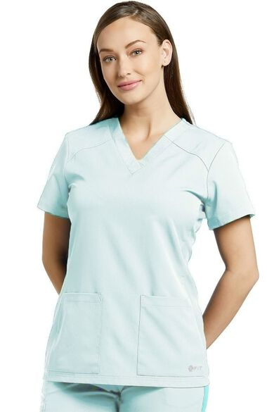 Clearance Women's V-Neck Soft Texture Solid Scrub Top, , large