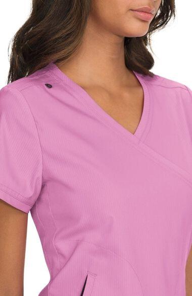 Women's Philosophy Mock Wrap Side Zipper Solid Scrub Top, , large