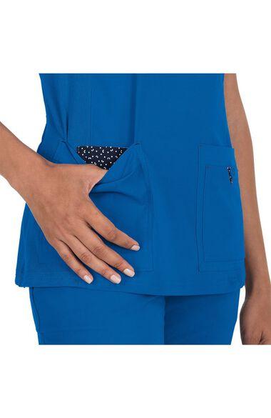 Women's Katie Mock Wrap Solid Scrub Top, , large