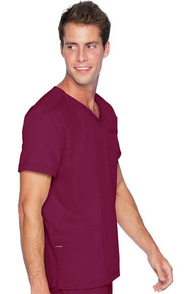 Men's V-Neck Chest Pocket Solid Scrub Top, , large