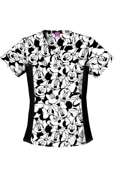 Women's Minnie Mouse Print Scrub Top, , large