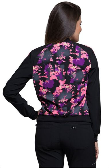 Clearance Women's Zip Front Warm-Up Abstract Print Scrub Jacket, , large