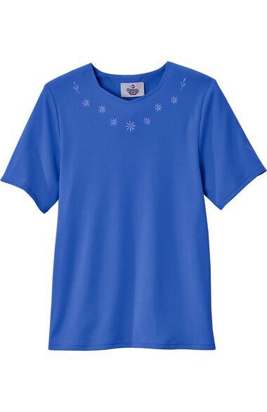 Silvert's Women's Open Back Diamond Neck Embroidered T-Shirt, , large