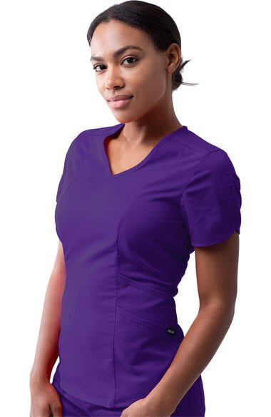 Women's Tailored V-Neck Solid Scrub Top, , large