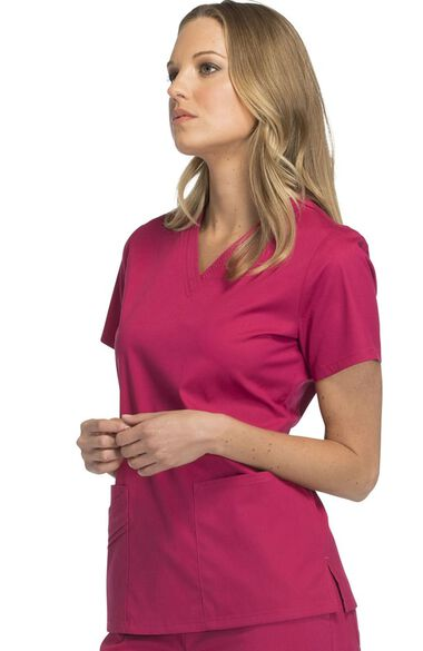 Women's Two Pockets V-Neck Solid Scrub Top, , large