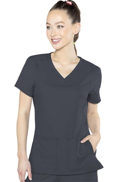 Women's Doubled Pocket Solid Scrub Top, , large