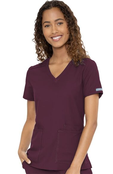 Women's Pleated Solid Scrub Top, , large