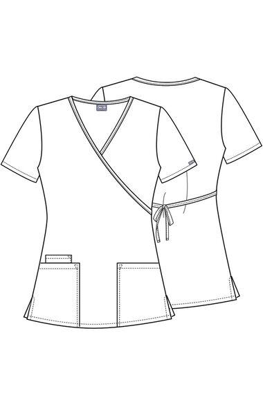 Women's Mock Wrap Tunic Solid Scrub Top, , large