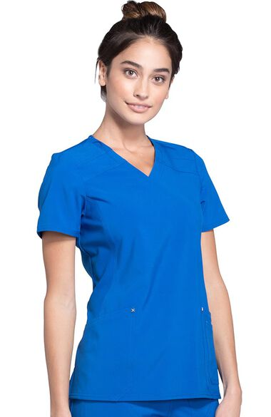 Women's Mock Wrap Soft Side Panel Solid Scrub Top, , large