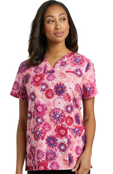 Women's Trendy Tie Dye Print Scrub Top, , large