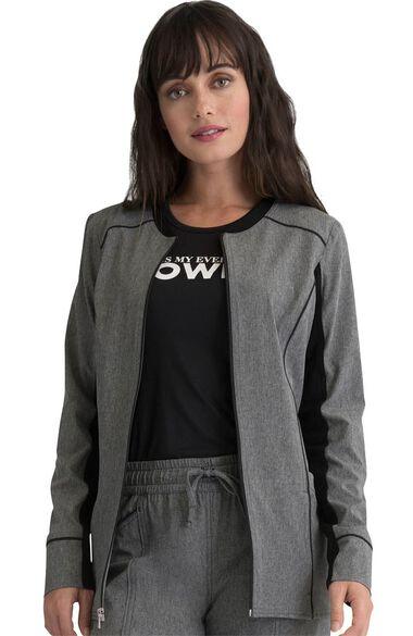 Women's Contrast Trim Solid Scrub Jacket, , large