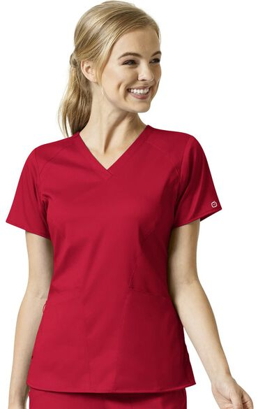 Women's Contoured Solid Scrub Top, , large
