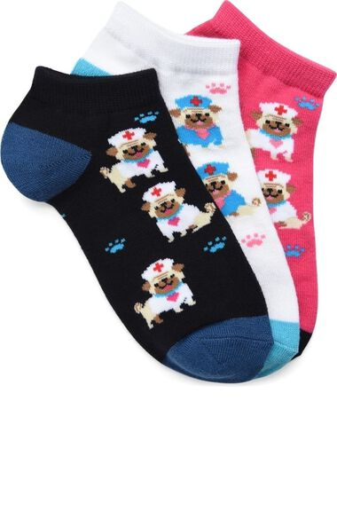 Women's Puppy Print Ankle Sock Pack of 3, , large