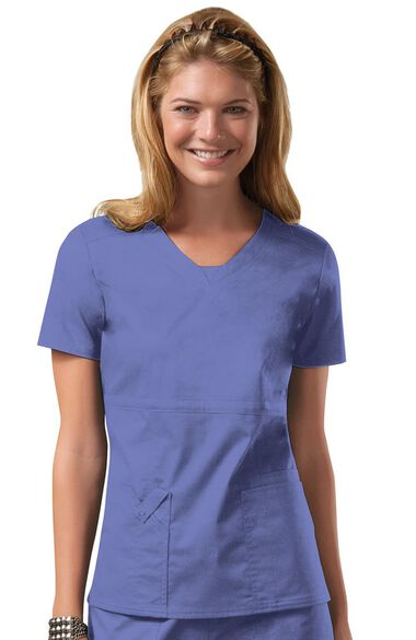 Women's Empire V-Neck Solid Scrub Top, , large