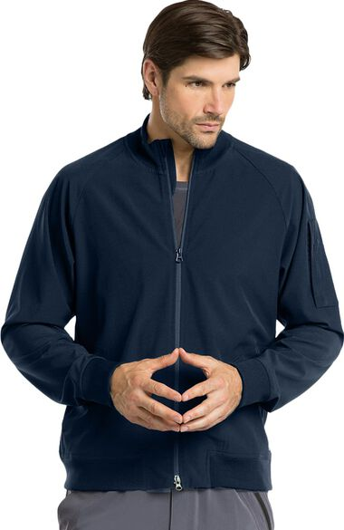 Clearance Men's Zip Front Bomber Solid Scrub Jacket, , large