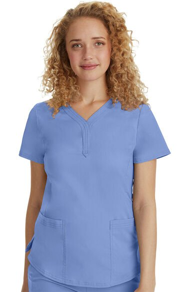 Women's Jane Y-Neck Solid Scrub Top, , large