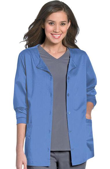 Women's Button Front Scrub Jacket, , large
