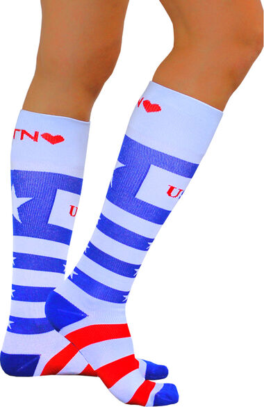 About The Nurse Women's Knee High 20-30 MmHg USA Print Compression Sock, , large